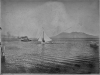print of clearlake with Konocti in background. A marconi