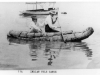 print of Ben Allen and his wife in a tule boat. Motor launch