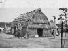 """"""" print of tule huts with peaked roofs. Back says """"At County"""