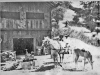print of man and woman in horse-drawn buggy in front of a